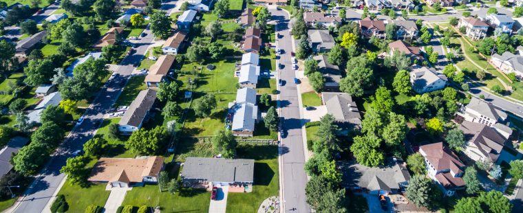 42019829 - aerial view of residential neighborhood in lakewood, colorado.