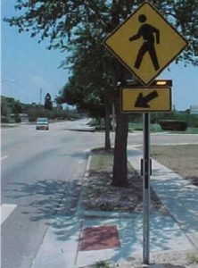RRFB pedestrian crossing example. Image provided by FHWA.