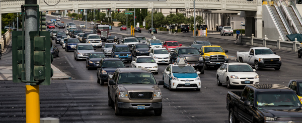 traffic on street on Las Vegas strip